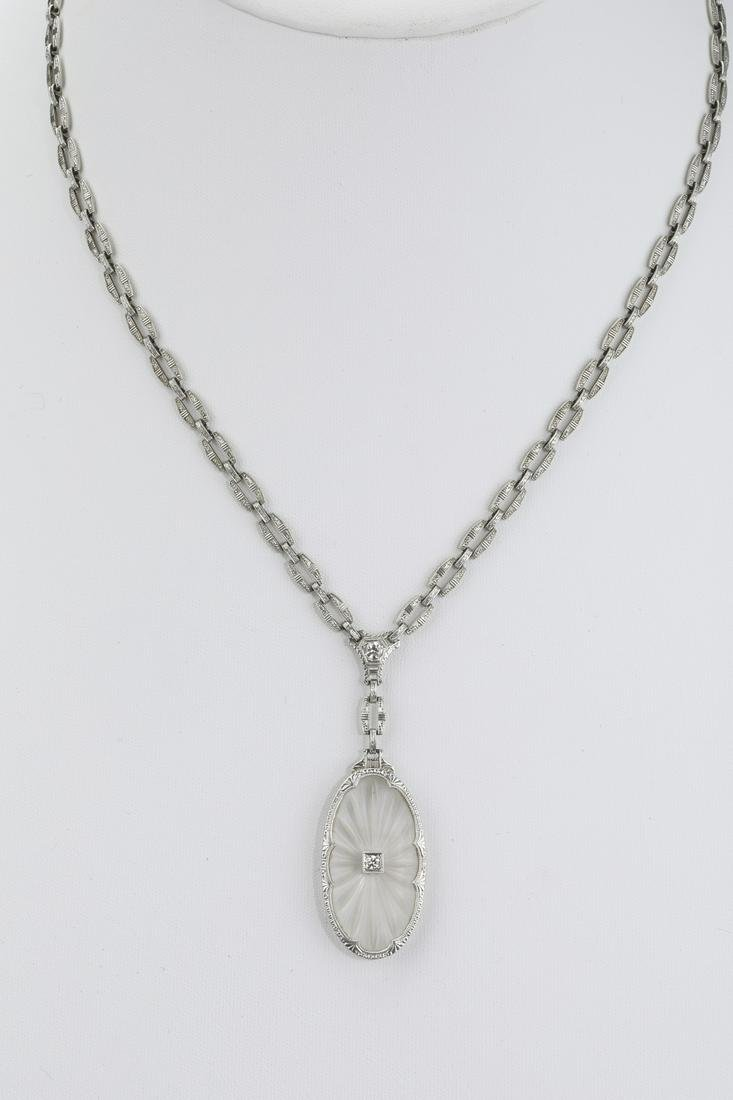 Art Deco rock crystal, diamond & 14k necklace