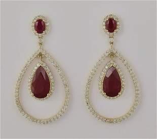 Ruby diamond and 14k ear pendants