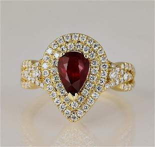 Ruby diamond and 18k ring sz 75