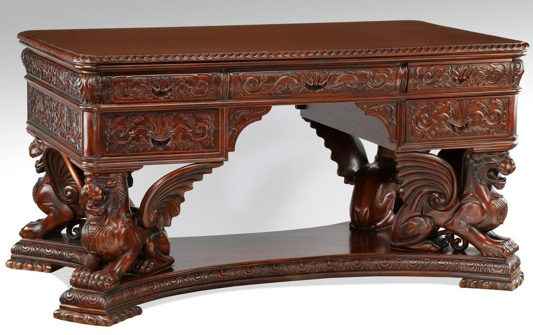 Carved mahogany partners' desk after RJ Horner