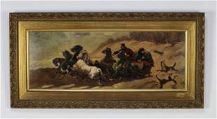 Early 20th c. Weismuller signed O/c hunting scene