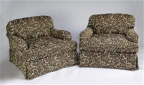 (2) Wesley Hall oversized armchairs in leopard print