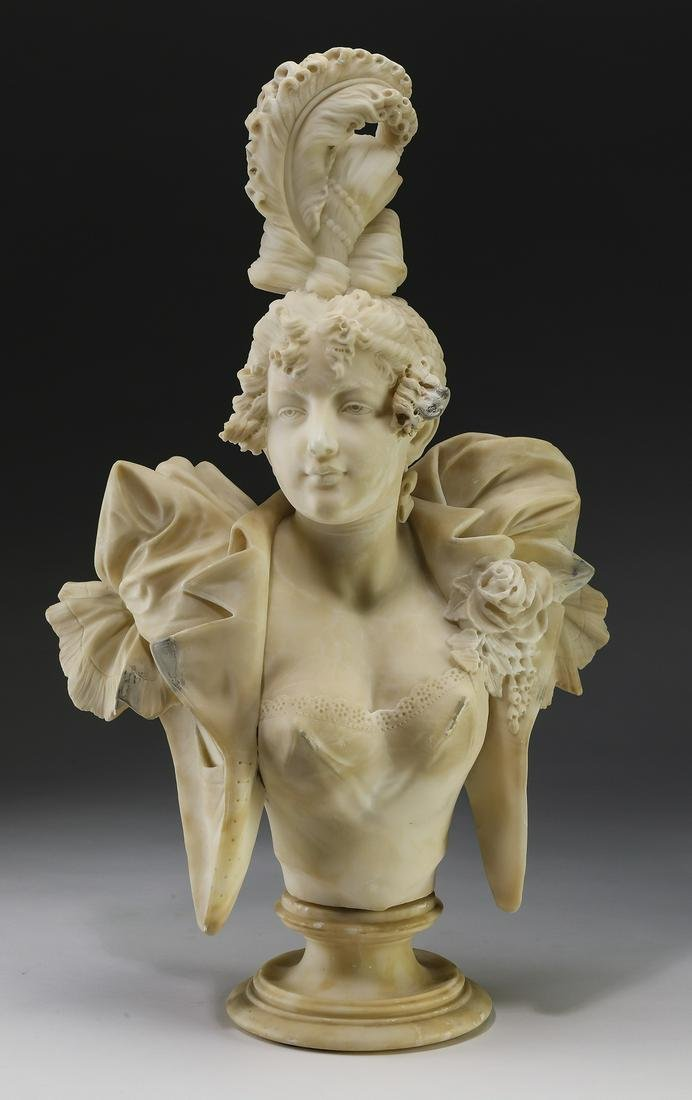Early 20th c. Italian carved alabaster bust of maiden
