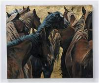 David Devary 'The Group' signed O/c of horses