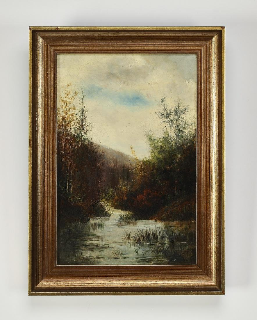 Early 20th c. American O/c autumnal river landscape