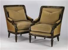 (2) Custom upholstered armchairs in velvet & leather