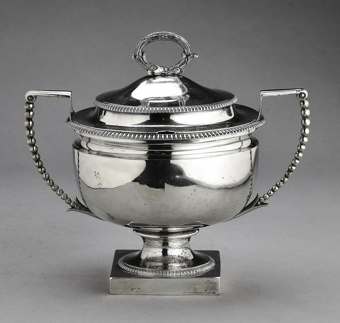 Early 19th c. John Emes sterling silver sauce tureen