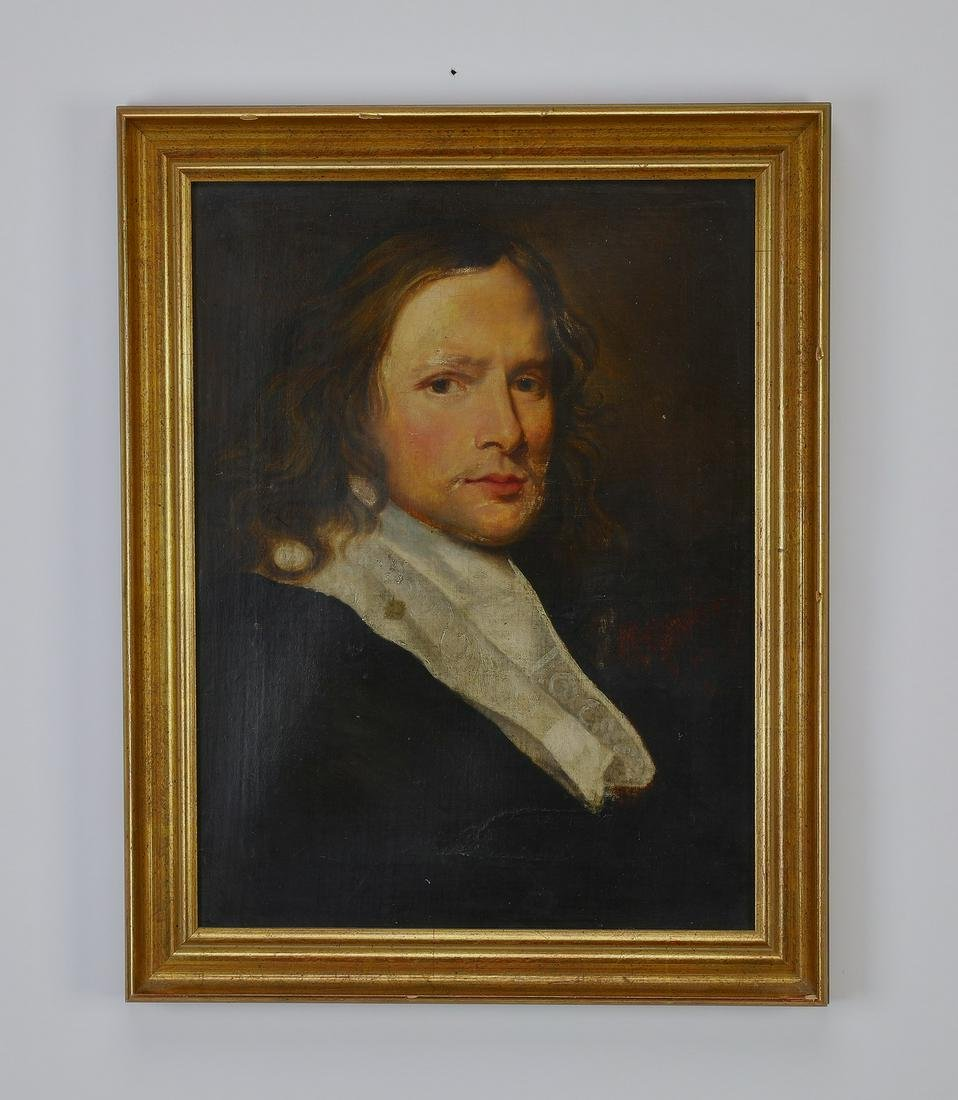 After Sir Peter Lely, O/c portrait of a gentleman