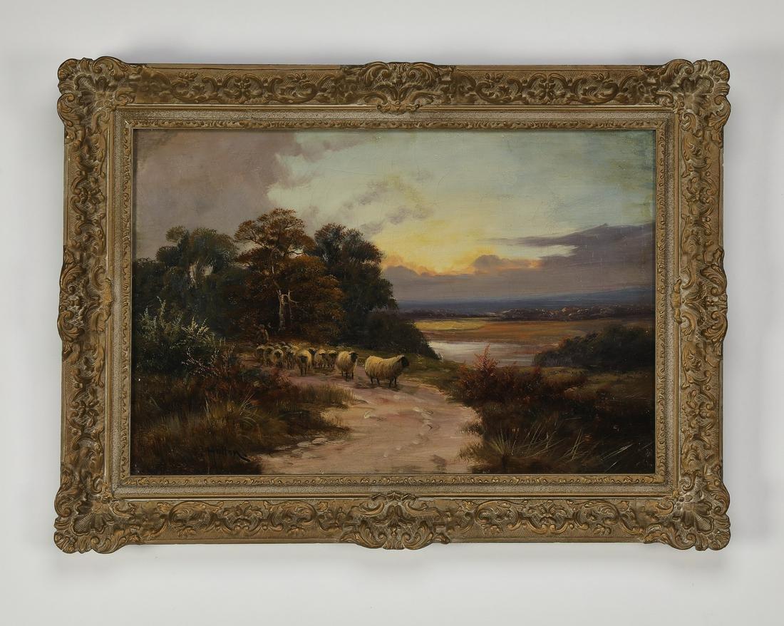 Late 19th c. J. Halton signed O/c pastoral landscape