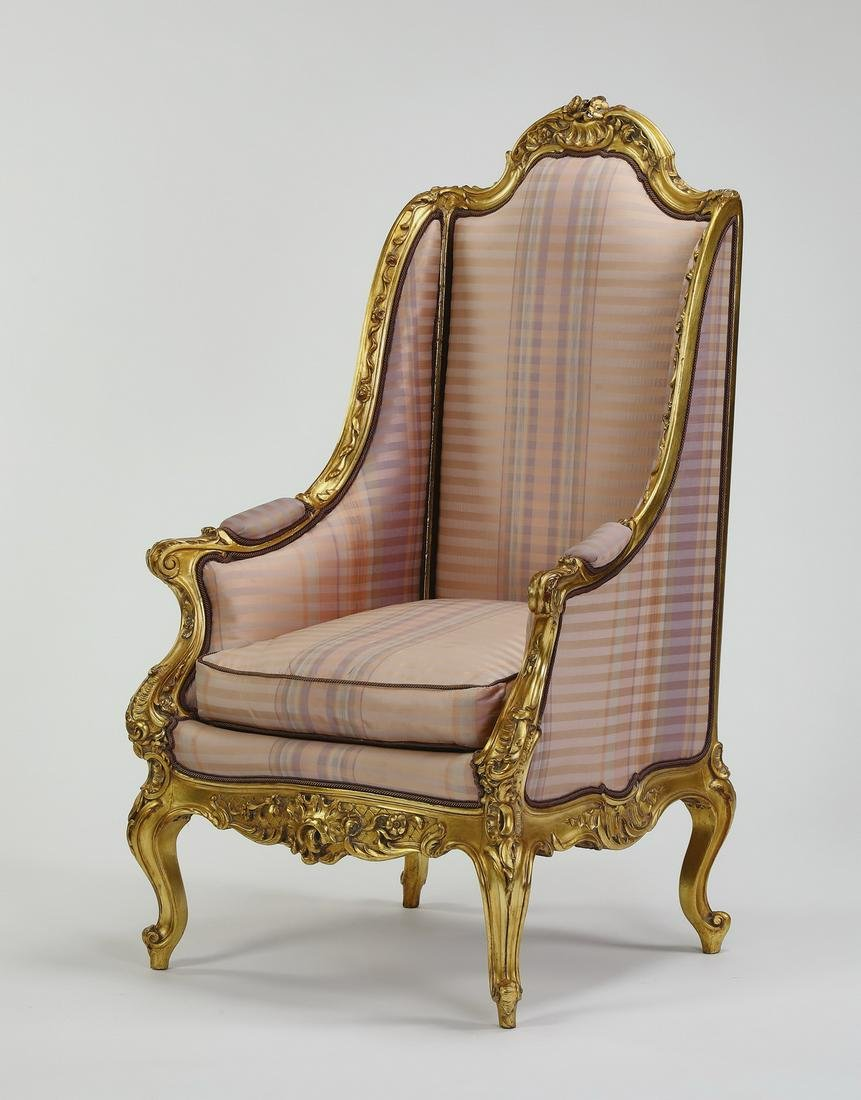 """Louis XV style giltwood and silk bergere, 50""""h"""
