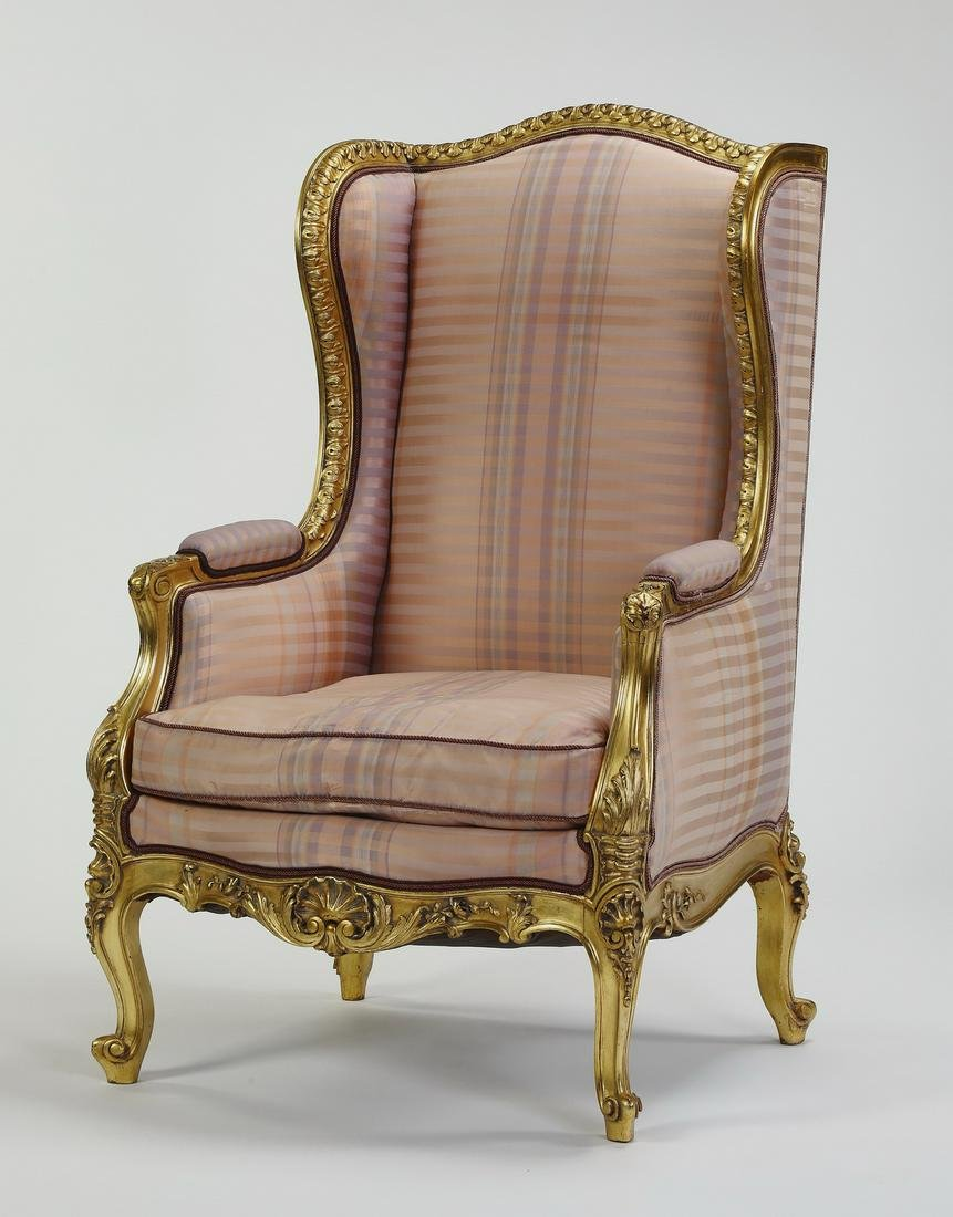 "Louis XV style giltwood and silk bergere, 49""h"