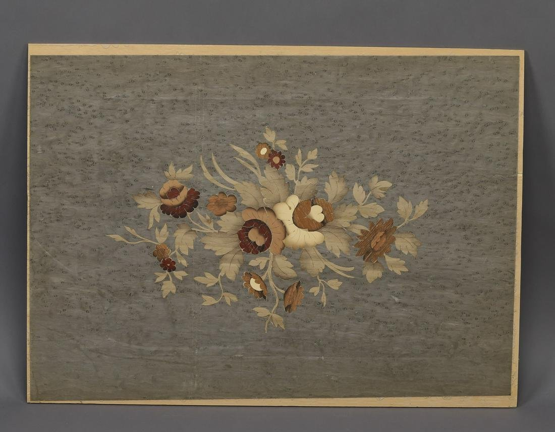 Italian polychrome floral marquetry inlaid panel