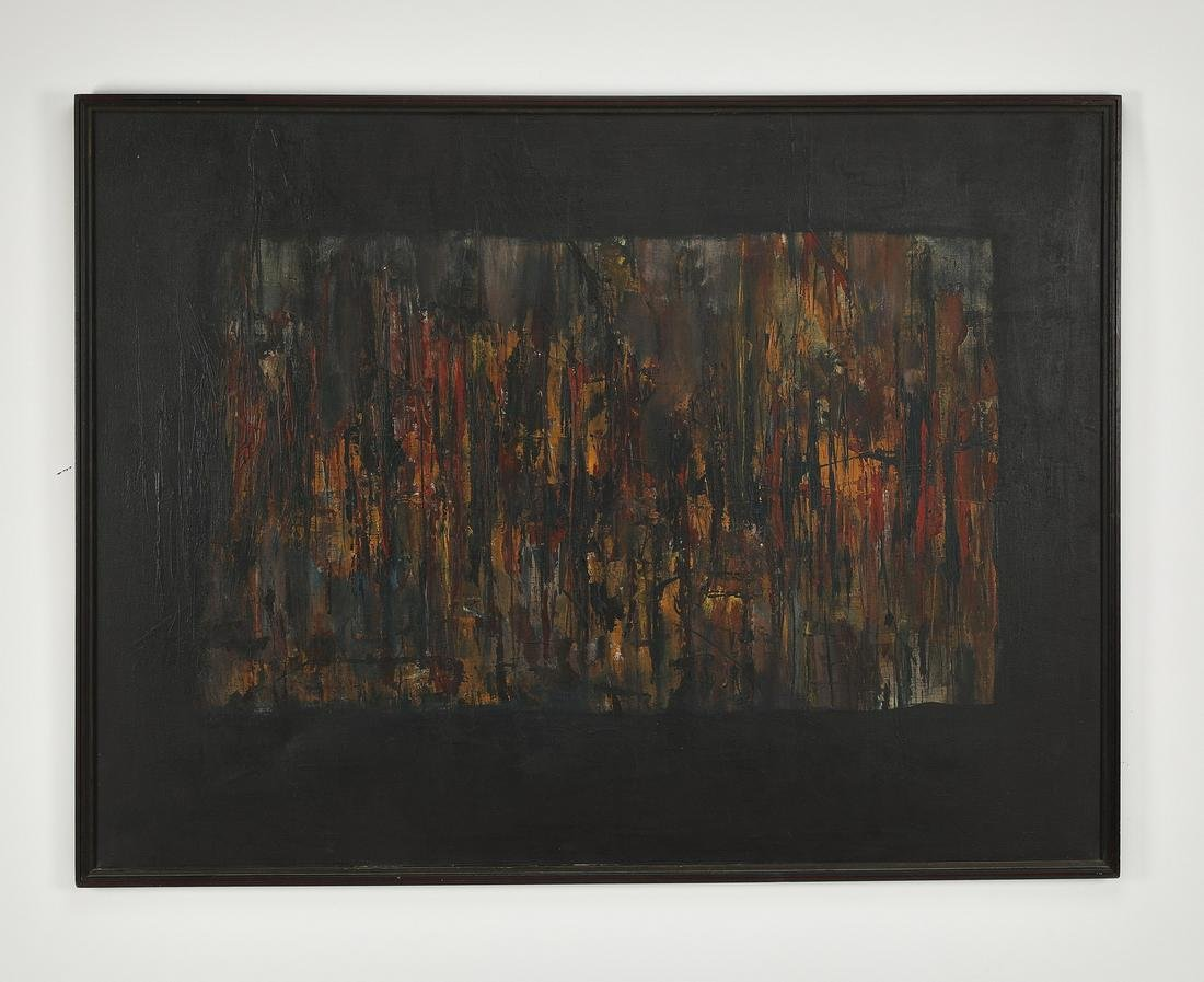 """Signed 20th c. American School O/c abstract, 50""""w"""