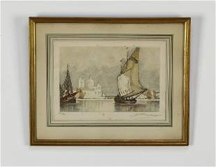 """Continental School etching of the Grand Canal, 17""""h"""
