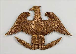 """Carved giltwood plaque of American bald eagle, 38""""w"""