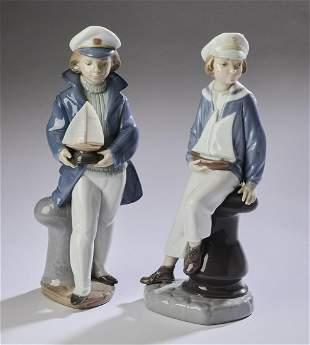(2) Lladro porcelain sailor figures #4810 and #6314