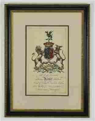18th c. hand colored English heraldic engraving