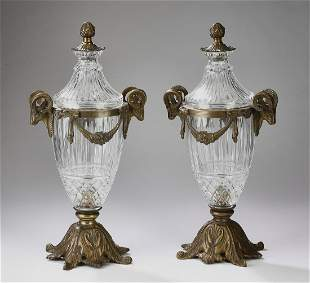 """(2) Neoclassical style lidded urns, 18""""h"""