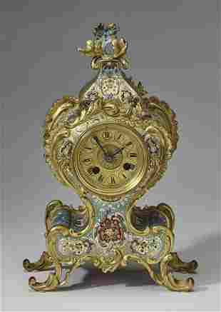 French champleve enamel bracket clock, ca 1925