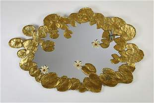 Carver's Guild gilt-decorated lily pad wall mirror