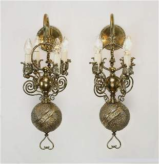 (2) Early 20th c. 4-light brass wall sconces