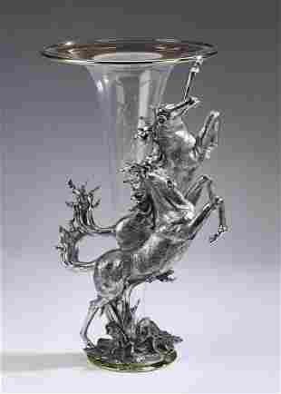 Contemporary vase with stallions in silvered metal