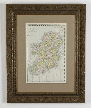 Framed map of Ireland circa 1886