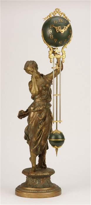 """19th c. figural French swinger clock, 28""""h"""