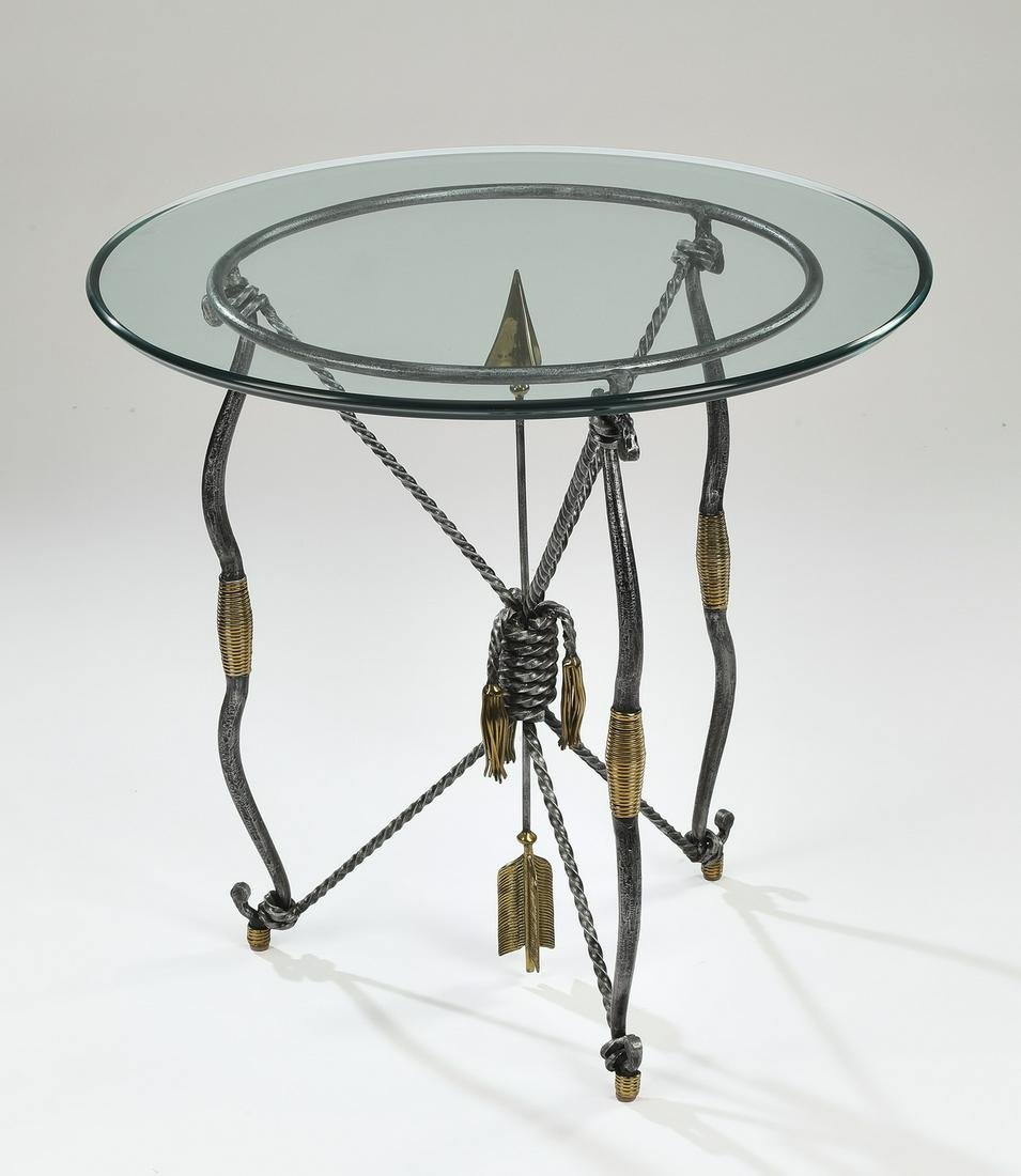 Glass and wrought iron bow and arrow occasional table