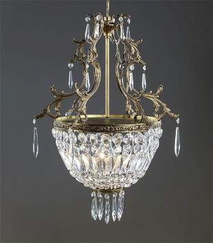 """Petite Continental crystal chandelier, 24""""h"""