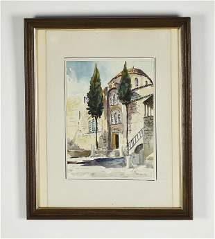 """Signed Continental watercolor streetscape, 22""""h"""