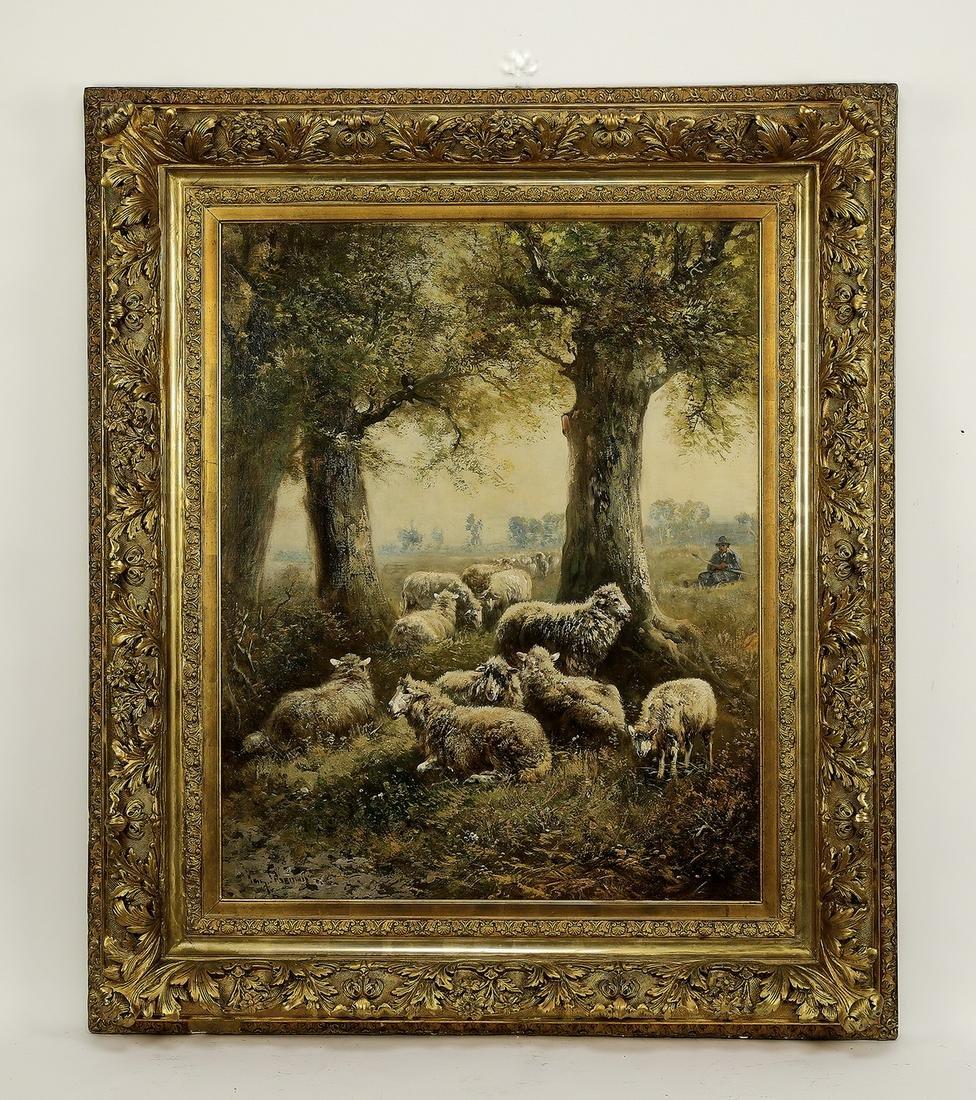Signed Henry Schouten O/c pastoral scene, 19th c.