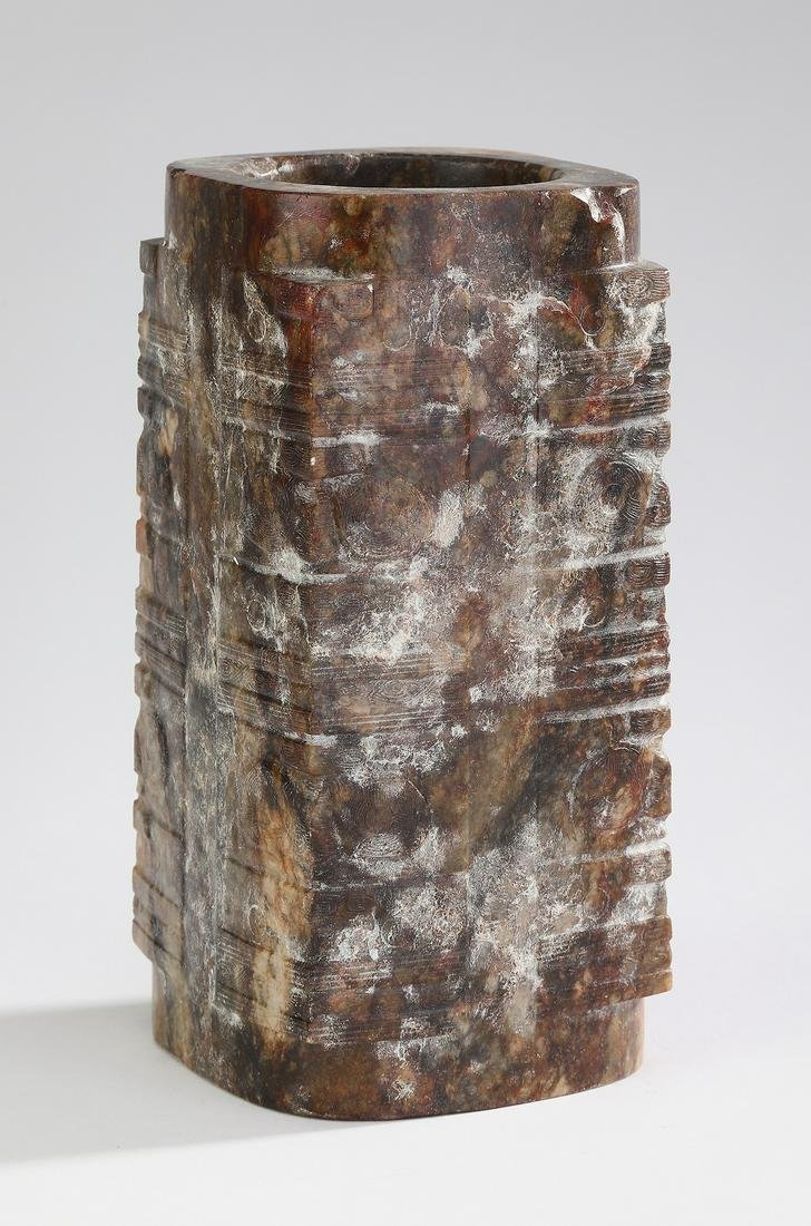 """Archaistic Chinese jade cong, 7""""h"""