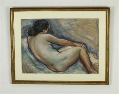 Francisco Narvaez (Venezuelan) pastel nude, signed