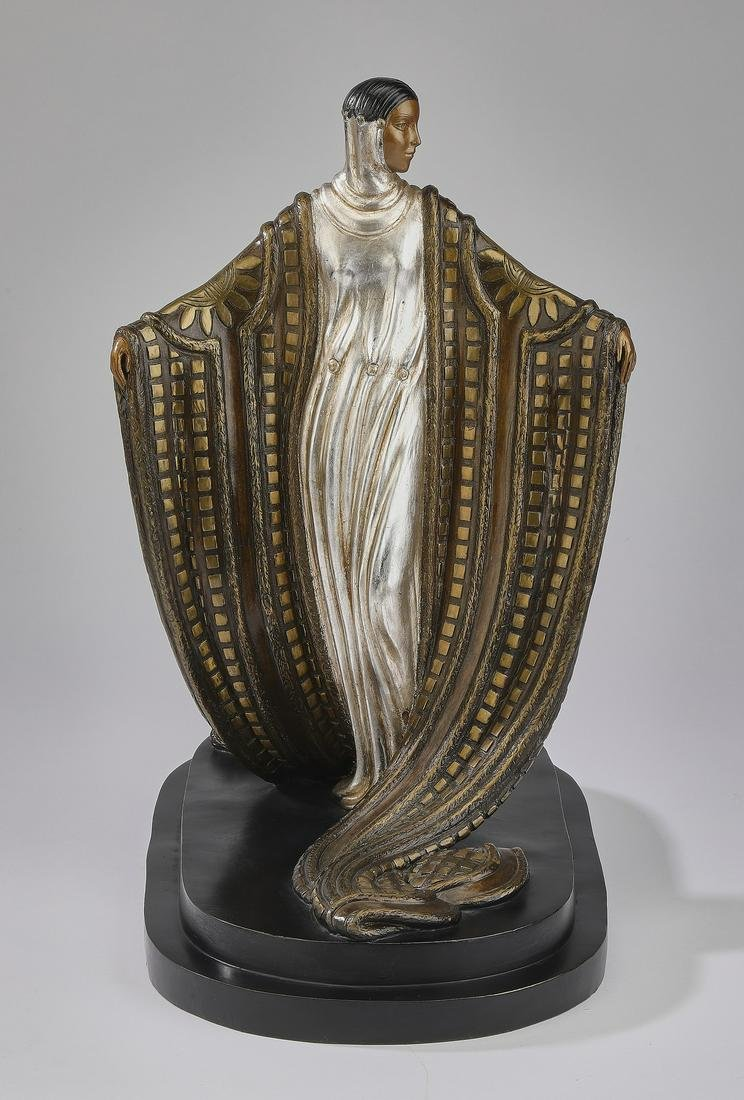 Signed Erte limited edition bronze, 'La Mysteriuese'
