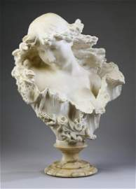 """Late 19th c. carved marble bust of young woman, 16""""h"""