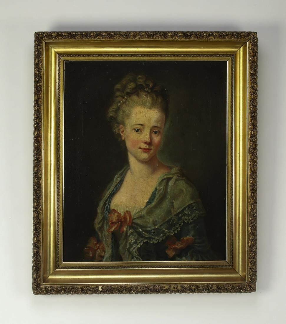 19th c. French O/c portrait of a young lady