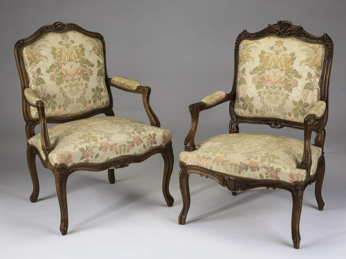 (2) 19th c French walnut armchairs in damask