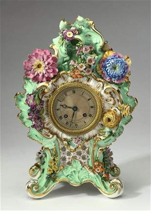 19th c. French Rococo Revival porcelain bracket clock