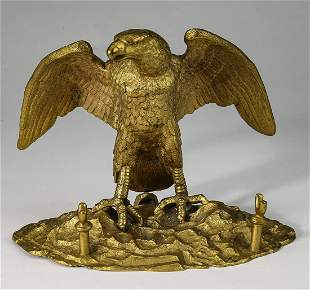 Bronze eagle figural inkwell and pen holder