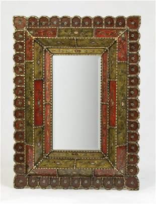 "Spanish Baroque style faux verre eglomise mirror 41""h"