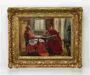 19th c. Continental O/c, two cardinals playing chess