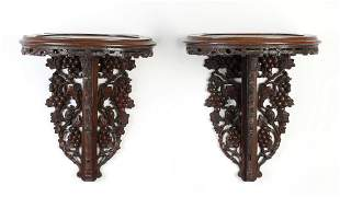 Pair of carved wall brackets w/ grapevines