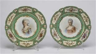 (2) Sevres hand painted porcelain cabinet plates