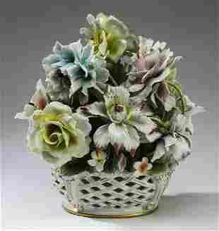 "Italian porcelain flower basket centerpiece, 13""h"