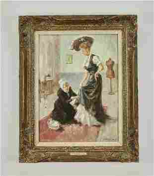 Post Impression O/c depicting a lady and seamstress