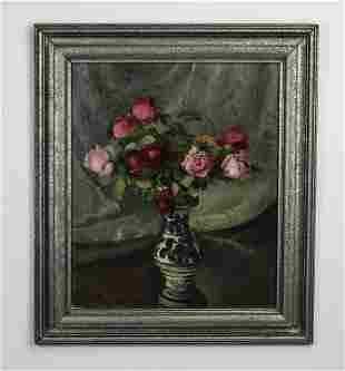 Mid 20th c American School O/c still life of roses
