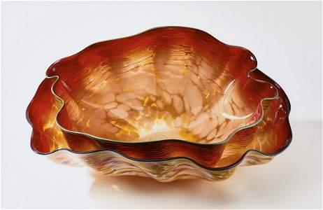 "Dale Chihuly art glass sculpture Macchia pair, 32""w"