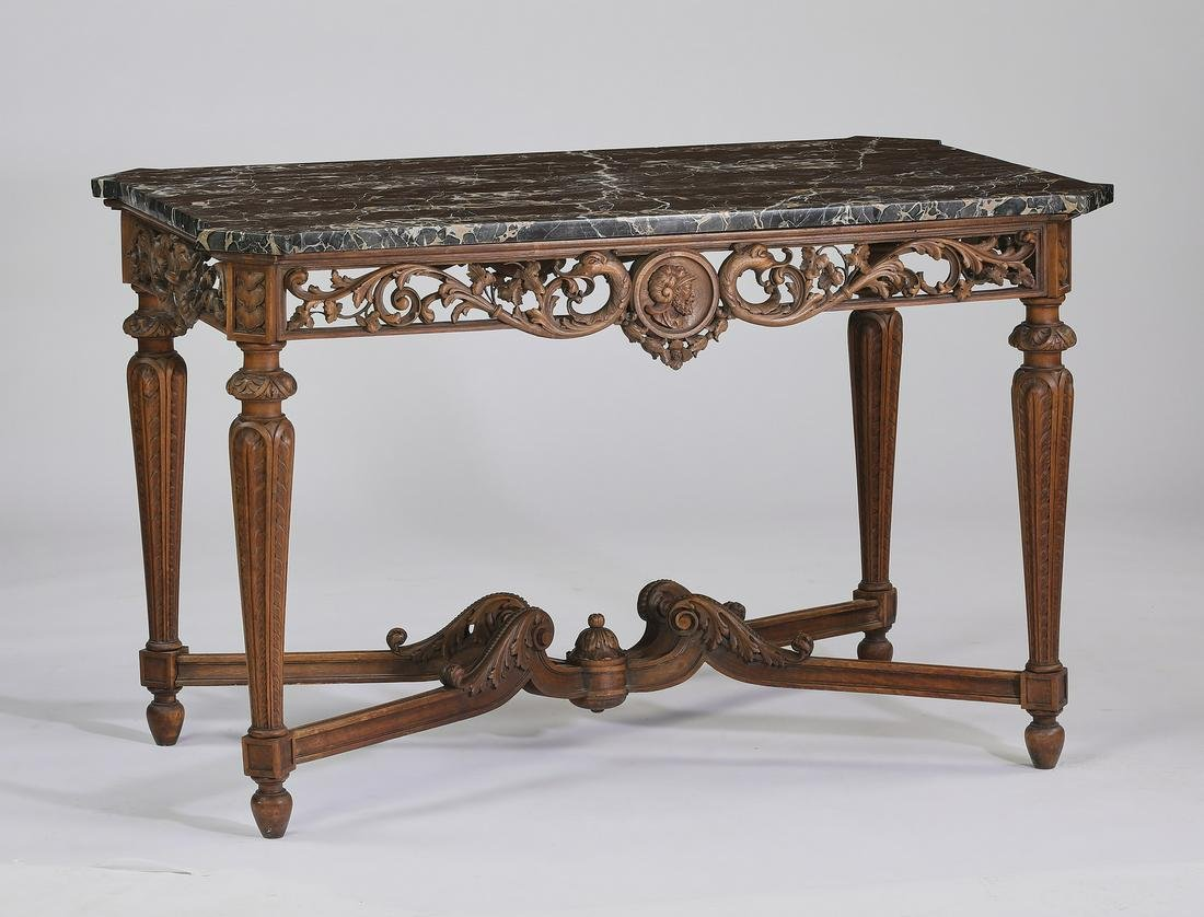 19th c. French carved walnut marble top center table