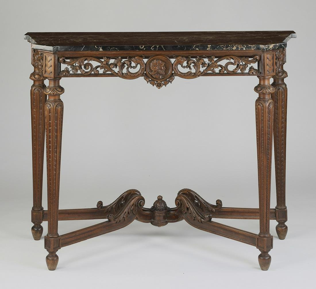 19th c. French marble top walnut console table